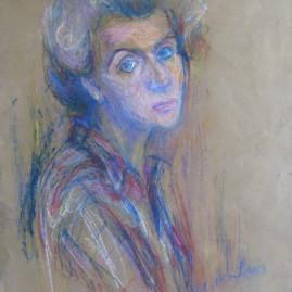 Autorretrato I, 1975. Pastel sobre papel, 70 x 50 cm