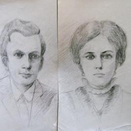 Ramón y Lidia, 1985. Lápiz sobre cartón, 50 x 70 cm
