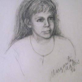 Laurita, 1996. Lápiz carbón sobre papel, 46 x 32 cm