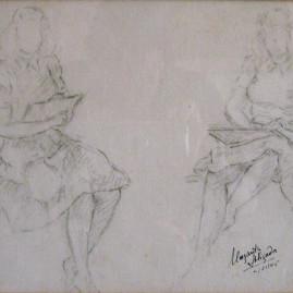 Dibujando frente al espejo, 1945. Carbonilla sobre papel, 21 x 27 cm