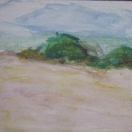 Médanos, 1990. Óleo sobre cartón, 21 x 28 cm