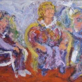 La visita, 1993. Acrílico sobre tabla, 60 x 100 cm