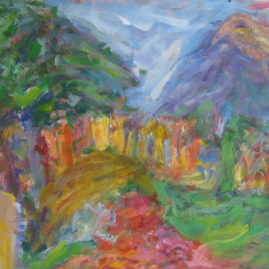 Paisaje con monoblock, 1994. Acrílico sobre lienzo, 60 x 80 cm