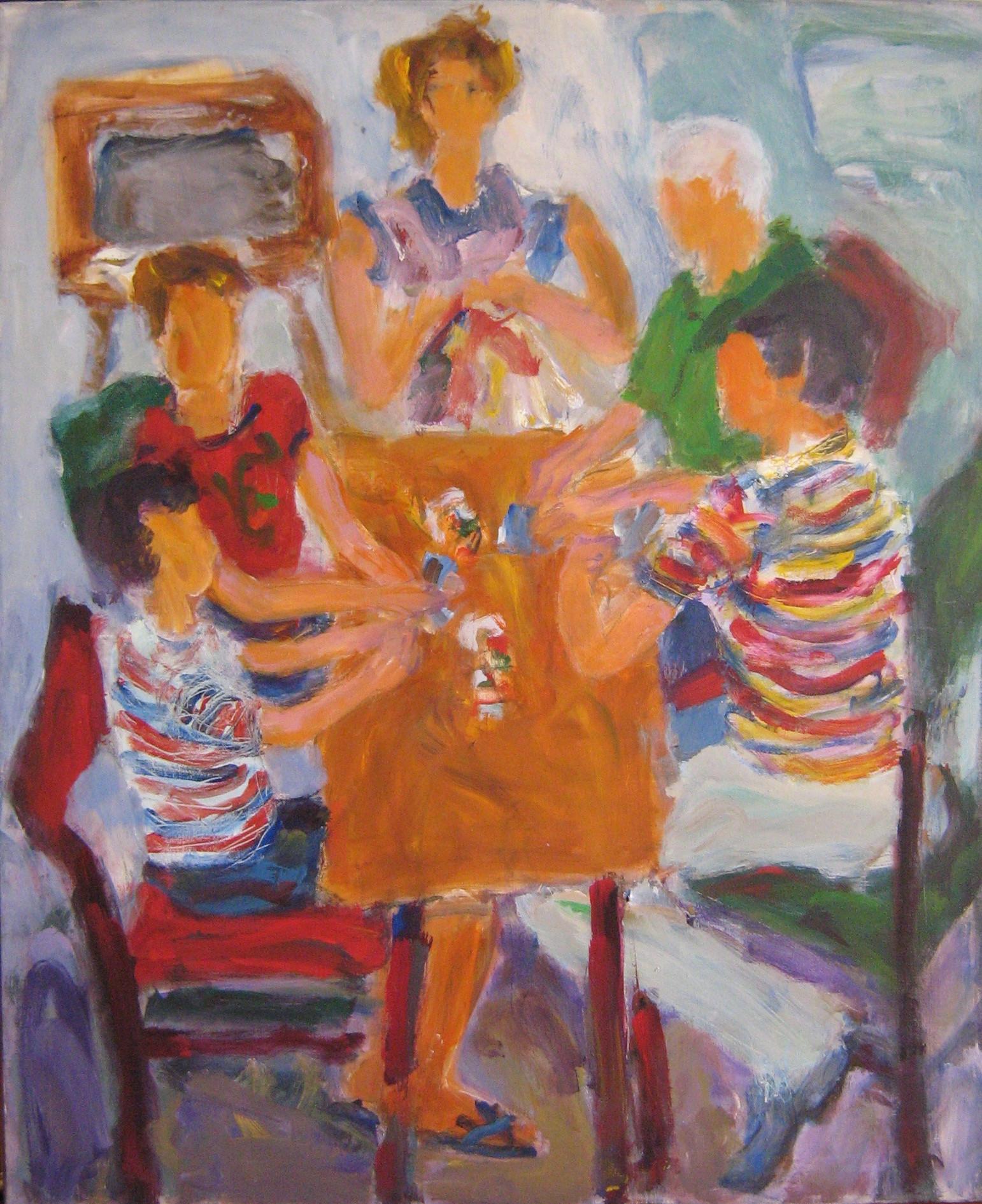 Los jugadores 1995 acr lico sobre lienzo 100 x 80 cm - Acrilico sobre lienzo ...