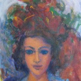 Mujer con sombrero rojo, 1996. Acrílico sobre lienzo, 70 x 50 cm