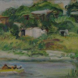 En el Río Quequén, Óleo sobre cartón, 35 x 50 cm