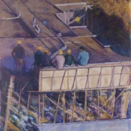 Hombres trabajando, 2014. Óleo sobre tela, 60 x 98 cm