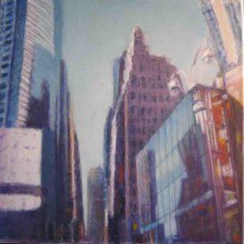 Torres de Nueva York, 2009. Acrílico sobre lienzo, 80 x 80
