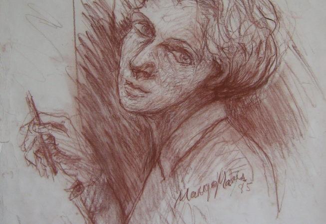 Autorretrato VII, 1985. Sanguina sobre papel, 65 x 50 cm